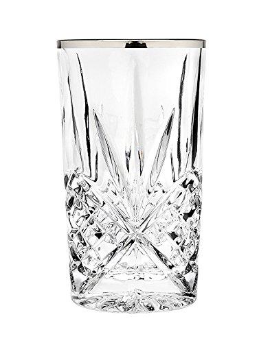 Godinger Silver Art Dublin Set of 4 Highball Glasses- Platinum