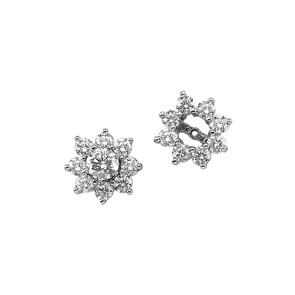 14K White Gold 1 1/5 ct. Diamond Earring Jackets