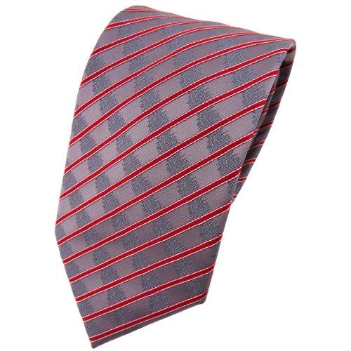 TigerTie cravate rouge gris argent rayé - Tie