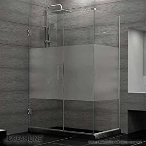 "durable service DreamLine Unidoor Plus 54""W x 30-3/8""D x 72"" H Hinged Shower Enclosure, Half Frosted Glass Door, Brushed Nickel Finish Hardware"