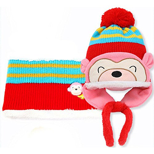 Hats & Caps - Baby Hat Winter Boys Girls Toddler Hats And Scarf Set Monkey Gorros Bebe Invierno Beanie Kids Warm - Diaper Cotton Ribbons Pool Rabbit Tractor Infant Hats Hiking Under Gray Di
