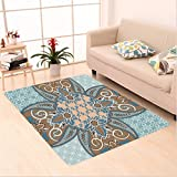 Nalahome Custom carpet bian Style Geometric Pattern Islamic Persian Art Elements and Baroque Touch Art Print Brown Teal area rugs for Living Dining Room Bedroom Hallway Office Carpet (5' X 7')
