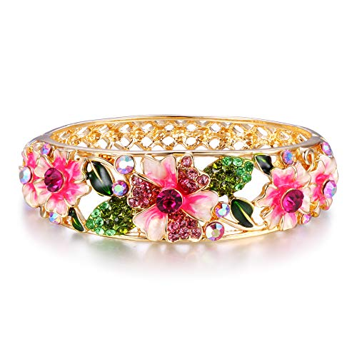 (EleQueen Women's Gold-Tone Austrian Crystal Enamel Flower Leaf Bangle Bracelet Pink w/Green)