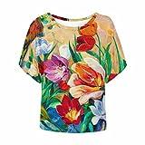 InterestPrint Women Short Sleeve T Shirt Casual O Neck Tunic Tops Floral XL