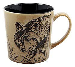 Ebros Wildlife Prowling Alpha Wolf Coffee Mug 16oz Ceramic Cup Glazed Stoneware