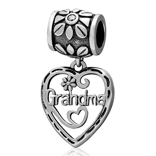 925 Sterling Silver Love Grandma Charm Heart Charm Flower Charm Birthday Charm Anniversary Charm for Pandora Charms Bracelet ()
