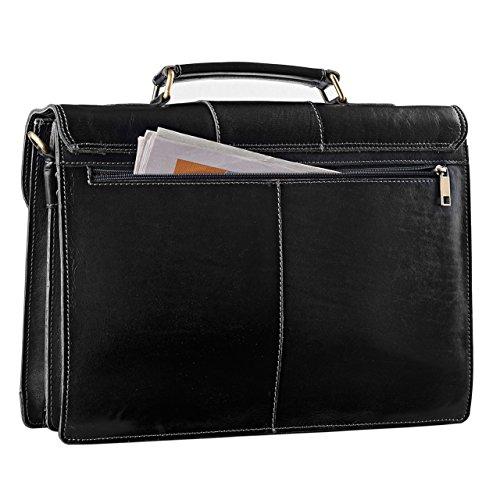 STILORD Vintage Bürotasche Businesstasche elegant aus echtem Leder mit Schloss und Laptop Fach Rinds Leder Schwarz