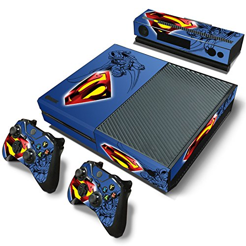 ZoomHit Xbox One Console Skin Decal Sticker Superman + 2 Controller & Kinect Skins Set ... (Superman Xbox One Game)