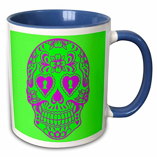 3dRose Xander patterns - Print of Sugar skull - 15oz Two-Tone Blue Mug (mug_220046_11) ()