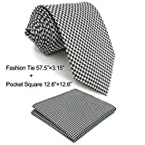 Shlax&Wing Black White Houndstooth Checkes Necktie Mens Tie