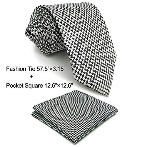Shlax&Wing Black White Houndstooth Checkes Necktie Mens Tie by S&W SHLAX&WING