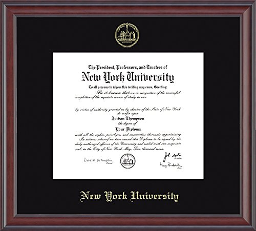 "Hardwood Moulding - NYU Gold Embossed Diploma Frame – Solid Hardwood ""Studio"" Moulding, Officially Licensed – 11.25"