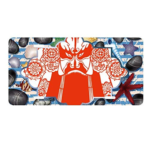 DIYthinker Red Opera Facial Mask Paper-Cut License Plate Car Decoration Ocean Stone Starfish ()