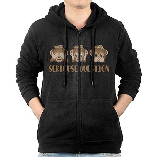 [GGDDAA Men's Emoji Monkey Triplets Hiphop Classic Hoodie Sweatshirt Casual Style L Black] (Good Triplet Costumes)