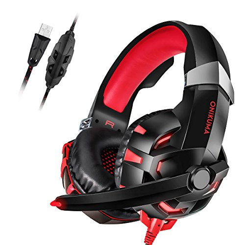 PC Gaming Headset, ONIKUMA 7.1 Surround Sound USB Gaming Headset, Crystal Clear Sound with Noise Isolating Mic, Over-ear Deep Bass Volume Control LED Light for PC Mac Computer Gamers Laptop - Customer Gmail Contact Service