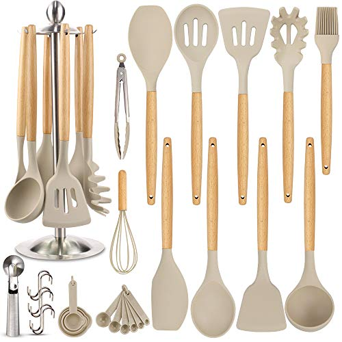 Silicone Kitchen Cooking Utensil Set, EAGMAK 16PCS Kitchen Utensils Spatula Set with Stainless Steel Stand for Nonstick Cookware, BPA Free Non Toxic Cooking Utensils, Kitchen Tools Gift (Light Brown)