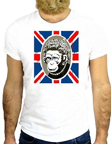 T SHIRT Z0481 UK UNITED KINGDOM GREAT BRITAIN LONDON QUEEN MONKEY COOL GGG24 BIANCA - WHITE M