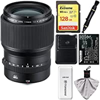 Fujifilm GF 110mm f/2.0 R LM WR Lens with 128GB Card + Battery & Charger + Kit for GFX 50S Digital Camera