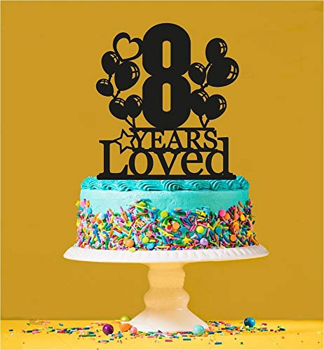 8th Birthday Loved Cake Topper - 8 Years Old - Eighth by Tamengi