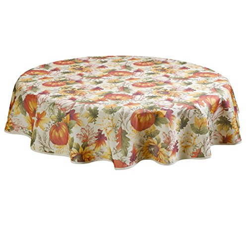 Violet Linen European Fall Harvest Pumpkins and Autumn Leaves Printed Tablecloth - 60
