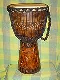 PRO 3 RING - 24'' X 14'' Djembe Deep Carved Hand Drum Bongo ELEPHANTS- Model # 60m18