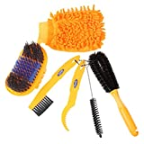 Floratek 6 PCS Portable Bicycle Cleaning Tool Kit Bicycle Chain Cleaner Mountain Road Bike Clean Machine Tire Brushes Coral Gloves