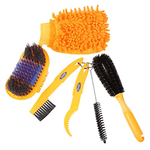 Floratek 6 PCS Portable Bicycle Cleaning Tool Kit Bicycle Chain Cleaner Mountain Road Bike Clean Machine Tire Brushes Coral Gloves by Floratek