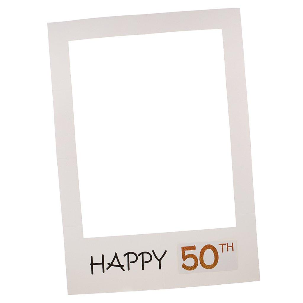 MagiDeal Photo Booth Cornice per Selfie Photos Frame Foto Props Anniversario Compleanno Tanti Auguri 40 Anni 50th - 50th