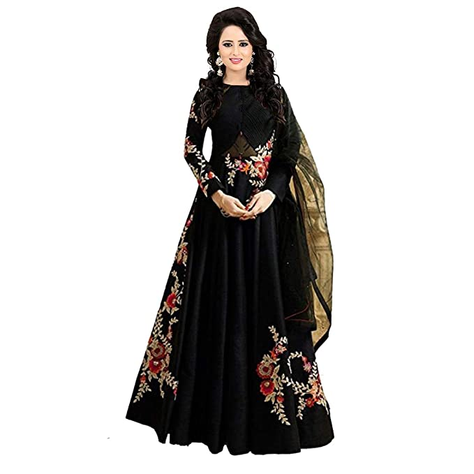 219838ced0a96 Style Amaze brings Women's Bangalori Silk & Net Party wear Embroidered Semi  Stitched Long Anarkali Gown(Black Color_1404) Free Size: Amazon.in:  Clothing & ...