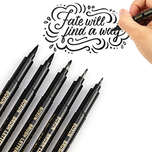 Large Product Image of Calligraphy Brush Pen for Hand Lettering - 4 Size (5/Pack), Refillable Black Ink Marker Pen for Beginners Writing, Art Drawings, Illustrations, Bullet Journal