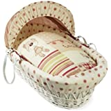 Clair de Lune Little Bear Wicker Moses Basket (White)