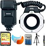 Sigma EM-140 DG Macro Flash for Canon EOS DSLRs (309101) with 64GB Memory Card, DSLR Camera Flash Diffuser Soft Flash Cover, Travel Charger, 60'' Full Size Photo / Video Tripod & LCD/Lens Cleaning Pen