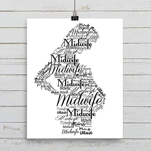 Art Print Pregnant Silhouette with the word Midwife, 5x7, 8 x 10, or 11x14