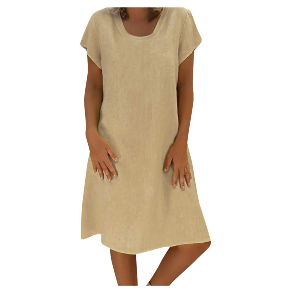 Damen Sommer Kleid Rosennie Damen Lose Party Minikleid Frauen Einfarbig Strandkleid Casual Rundhals Tunika Kleid Kurzarm MiniKleid Boho Maxikleid Freizeitkleid Große Größe XL-5XL