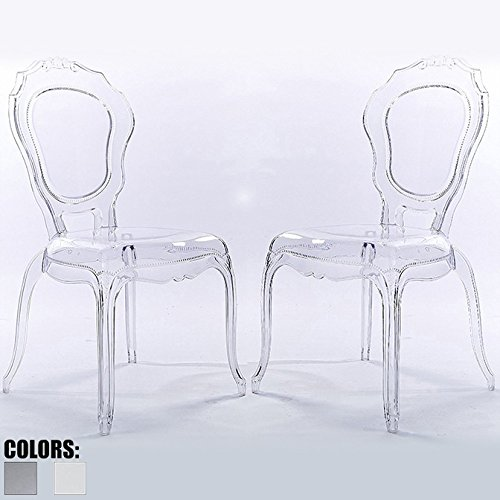 2xhome Set of 2 Clear Modern Contemporary Ghost Chair Acrylic Mirrored No Arms Armless Side Furniture Desk Vanity Dining Chairs Arm Armchairs Armchair Decor Plastic Writing Office Outdoor Bedroom ()