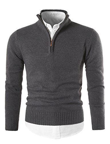MIEDEON Mens Slim Fit Zip up Mock Neck Polo Sweater Casual Long Sleeve Sweater and Pullover Sweaters with Ribbing Edge (Dark Grey, L) by MIEDEON