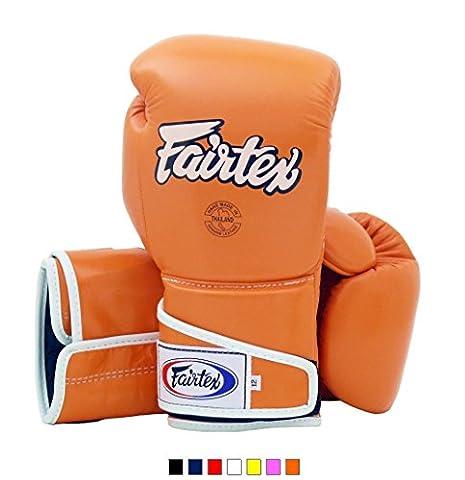 Fairtex Muay Thai Boxing Gloves BGV6 Orange 16 oz Training & Sparring Gloves for Kick Boxing MMA K1 (Fairtex Muay Thai Ankle Supports)