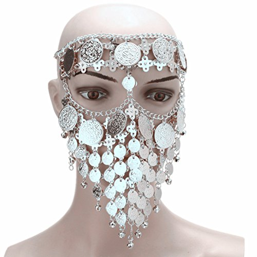 ZYZF Belly Dance Tribal Egyptian Halloween Costume Headwear Coins Face Mask Veil Tribal Bedouin Burka Burqa Metal Head Chain - Metal Heads