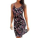 Paymenow Clearance Women Floral Print Beach Sundress Retro Spaghetti Strap Sleeveless Bodycon Mini Dress Tank Dress (L, Black)