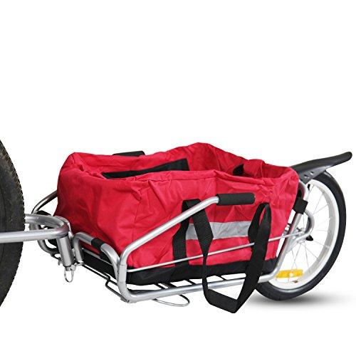 Kinbor New 2in1 Steel Single Wheel Pet Bike Cargo Trailer Luggage Carrier w/Red Bag