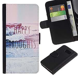 Billetera de Cuero Caso Titular de la tarjeta Carcasa Funda para Samsung Galaxy S6 SM-G920 / happy thoughts blue waves surf inspirational / STRONG