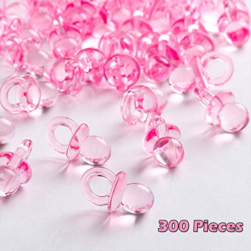 (Tanlee 300 Pieces Mini Acrylic Baby Pacifiers Fake Pacifiers for Baby Shower Filler Decorations Ice Cube Game Supplies Table Scatter, Pink)