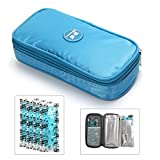 insulated bag for insulin - Portable Insulin Cooler Travel Bag,luckybuy Diabetic Organizer - Keep Diabetics Insulated and Cool,Upgraded with 4 Ice Packs and Temperature Read Function (Blue)