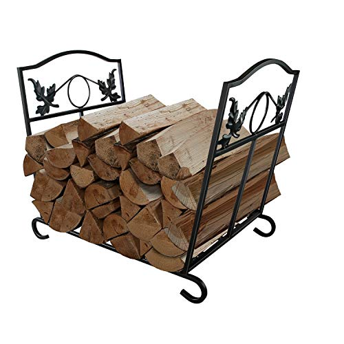 WBHome Large Capacity Firewood Rack Log Holder Wrought Iron, Firewood Stove Stacking Rack Logs Bin Firewood Storage Carrier, for Outdoor/Indoor (Indoor Large Rack Firewood)