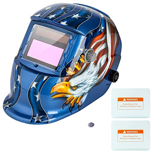 Z ZTDM Welding Helmet Welder Mask Solar Powered Auto Darkening Hood with Adjustable Wide Shade Range 4/9-13, Protective Gear, 2 Extra Lens & Battery for ARC MIG TIG (Blue Eagle)