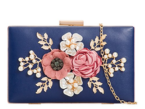 Women's LeahWard Case Floral 2096 Handbag Clutch Bag Evening Hard Navy Wedding TUwqBxRp