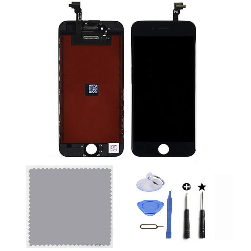 LCD Replacement Touch Screen Digitizer & LCD Display with Frame Assembly Front Glass Fit for iPhone 6 4.7 Inch (Black)