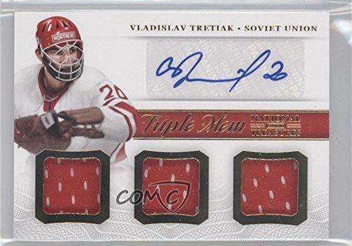vladislav-tretiak-hockey-card-2013-14-panini-national-treasures-triple-memorabilia-autograph-tm-vtr