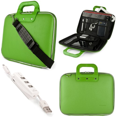 SumacLife Cady Briefcase Messenger Bag for Acer Chromebook 15.6 inch Laptops with 3 Port USB Hub (Green)
