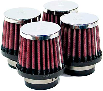 """RED 1991 UNIVERSAL 76mm 3/"""" INCHES CHROME HEATSHIELD AIR INTAKE FILTER"""